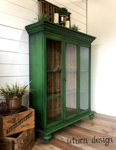 Green painted hutch, rustic china cabinet, farmhouse display case #paintedfurniture #affilate