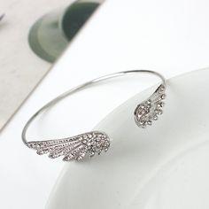 Double Angel Wings Bangles Cubic Zirconia Rhinestone Bangle Silver Color  Open Adjustable Cuff Charm Bracelet For Women Jewelry de325074e2