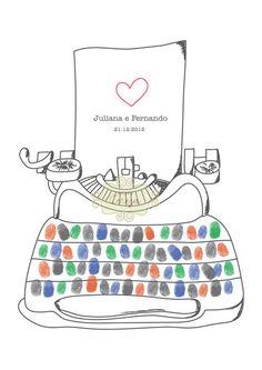 Pôster PERSONALIZADO Maquina de escrever Digitais