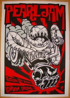 "Pearl Jam - silkscreen concert poster (click image for more detail) Artist: Acorn Venue: Shepherd's Bush Empire Location: London, England Concert Date: 8/11/2009 Size: 17"" x 24"" Condition: Mint Notes:"