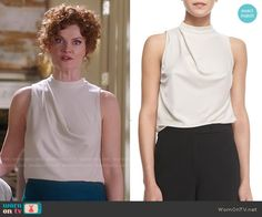 Evelyn's white high-neck draped top on Devious Maids. Outfit Details: http://wornontv.net/51212/ #DeviousMaids