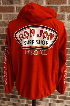 Ron Jon Surf Shop Cozumel Red Zip Front Jacket Shirt Baja Hoodie Mens Size L  #RonJon #ZipFrontHoodedJacket
