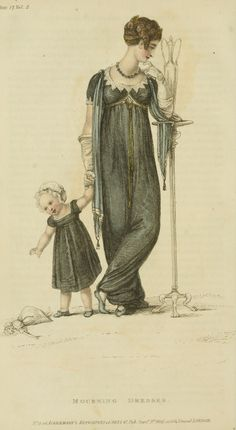 Mourning for lady and child. Ackermann's Repository 1809