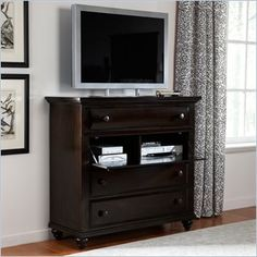 Broyhill Farnsworth Media Chest in Inky Black Stain - Your private retreat isn't complete without home entertainment. The English-country-inspired Farnsworth media chest is a stylish storage cabinet with an updated inky-black stain finish and knobs.
