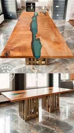 """Авторский обеденный стол из дерева и полимера на шикарном подстолье. Стол Река изготовлен из слэбов дерева дикой Груши с натуральным, """"живым"""" краем. Покрытие дерева - матовый лак. Роскошное подстолье ручной работы. Настоящий дизайнерский стол от настоящих мебельных мастеров."""