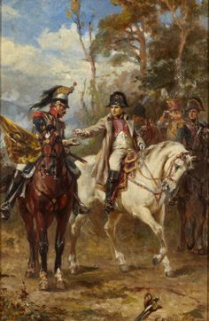 Napoleon on Horseback by Robert Alexander Hillingford (British Military Art, Military History, Knights Contract, Napoleon French, First French Empire, Battle Of Waterloo, French History, French Army, French Revolution