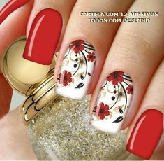 Top 50 Red and white nail design for beautiful girls - White Nail Designs, Beautiful Nail Designs, Nail Art Designs, Red And White Nails, Bright Red Nails, Spring Nail Art, Flower Nail Art, Stylish Nails, Fabulous Nails