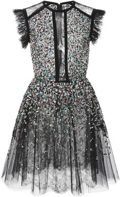 Elie Saab Beaded Embroidered Tulle Dress Available Colors: Black Available Sizes: 34 For Pre-Fall '17 Elie Saab channels '80s details with Victorian femininity. Crafted from layers of sheer tulle this dress is embellished with light-catching sequins and falls to just above the knee. Wear yours to a cocktail party with a clutch and sandals.;For Pre-Fall '17 Elie Saab channels '80s details with Victorian femininity. Crafted from layers of sheer tulle this dress is embellished with…