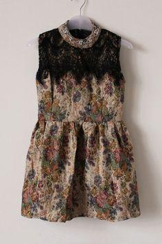 Retro Flower Print Sleeveless Dress OASAP.com 61.00