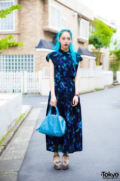 Harajuku Girl's Blue Hair & Summer Dress Street Style w/ Gucci & Sly