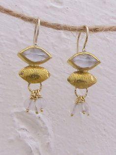 24k Gold Crystal Earrings  Crystal & 24k Gold Earrings by Omiya