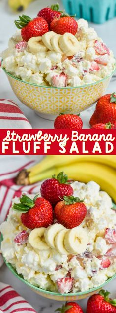 This Strawberry Banana Fluff Salad is the perfect recipe to bring to a potluck! Old school comfort food at it's best! This Strawberry Banana Fluff Salad is the perfect recipe to bring to a potluck! Old school comfort food at it's best! Fluff Desserts, Köstliche Desserts, Dessert Recipes, Dinner Recipes, Dessert Salads, Fruit Salad Recipes, Fruit Salads, Easy Fruit Salad, Cheesecake Fruit Salad