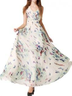 V-Neck High Waist Butterfly Printed Sleeveless Long Dress Women Summer Bobo Dress on buytrends.com