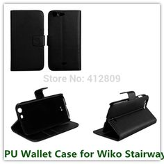 >> Click to Buy << Hot Sales Black PU Leather Money Pouch Cover Case for Wiko Stairway with ID Card Holder Stand Fastener Cellphone Case Free #Affiliate