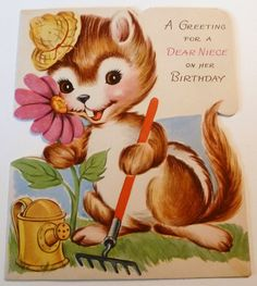 https://flic.kr/p/c9tsA9 | Vintage Chipmunk Gardening Greeting Card | Is it a chipmunk, or a squirrel? A gopher or a cat??? Part of my vintage greeting card collection.