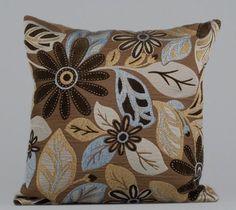 Brown blue cream pattern cotton pillow case COLORS by laceonpillow