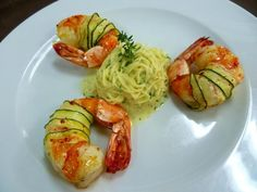 One of Garanger's latest creations: Zucchini-Wrapped Jumbo Shrimp with Parmesan Cheese and Angel Hair Pasta al Limone