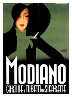 vintage poster - design inspo for blends Artist Franz Lenhart had the ability to make smoking look fashionable in this circa art deco advertising poster from Italy. Vintage Italian Posters, Pub Vintage, Vintage Advertising Posters, Poster Vintage, Vintage Advertisements, Retro Posters, Vintage Items, Movie Posters, Art Deco Illustration