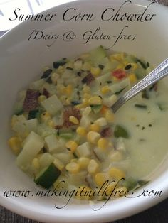 Summer Corn Chowder {Dairy & Gluten Free} | Making it Milk-free     *use soy instead of coconut and chuck out the potato :)