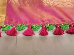 Unique Semi Circle Design with Beads and Kuchu Saree Kuchu New Designs, Churidhar Neck Designs, Saree Tassels Designs, Hand Designs, Blouse Designs, Crochet Flower Tutorial, Crochet Doily Patterns, Crochet Designs, Crochet Stitches