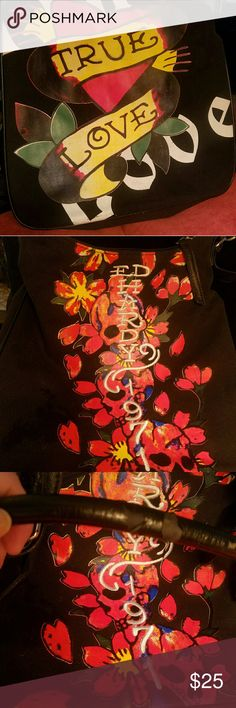 Ed Hardy bag Large bag, with two different prints on exhibition side. Pockets inside. Straps have some damage (pictured). Ed Hardy Bags Shoulder Bags