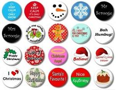 Christmas (Various Designs) - / Button Badge - Choose From 20 Cute Xmas