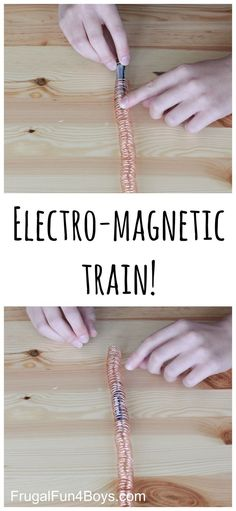 """Here is an interesting project for kids that explores both electricity and magnetism – build a simple electromagnetic train! This intriguing video has been making it's way around Facebook… it's a simple electric """"train"""" made out of coiled copper wire and a train car comprised of a battery with magnets on both ends. It was …"""