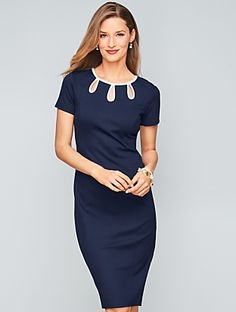 Tipped Ponte Sheath Dress | Talbots. $204.98
