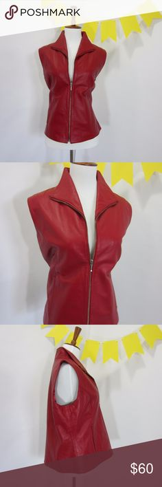 """Genuine Red Leather Vest Cosplay Costume *KK17 Excellent gently used condition, one speck of wear at top of collar (pic 5). No other signs of wear. Great buttery soft real leather. Perfect for cosplay or halloween costumes. [Size L Bust  42"""" Length 22""""] Red.   Costume ideas: Starlord /Peter Quill, Emma Swan, Scarlet Witch, etc.  // No holds, trades, or modeling. Colors may vary on screen. Please use measurements. Offers welcome.   *Last characters in title is inventory number. Coldwater…"""