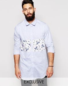 Image 1 ofReclaimed Vintage Longline Shirt With Textured Floral Panel