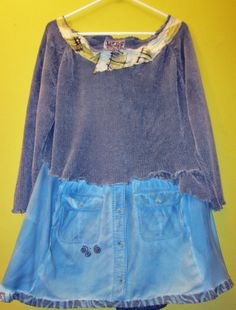 Teal Hand dyed Sweat shirt tunic Upcycled fits M L by monapaints, $169.00
