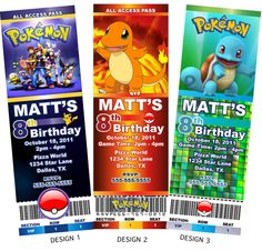 Pokemon Pikachu Ash Squirtle Bulbasaur Charmander Birthday Invitation Digital Invite Ticket Birthdays- Personalized Printables on Etsy, $8.99