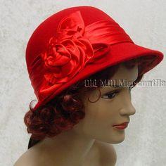 red 1920s 1930s Downton Abbey Gatsby Cloche style wool felt hat #Epoch #Cloche #any