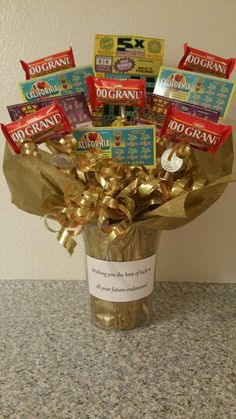"""I made this for a coworker that was leaving for a new job. She loved scratchers. This was my way to wish her """"luck"""". Gift For Coworker Leaving, Goodbye Gifts For Coworkers, Farewell Gift For Coworker, Leaving Gifts, Farewell Gifts, Goodbye Coworker, Leaving Party, Retirement Gifts For Men, Retirement Parties"""