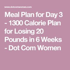 Meal Plan for Day 3 - 1300 Calorie Plan for Losing 20 Pounds in 6 Weeks - Dot Com Women