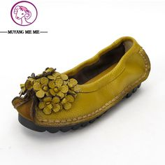 d82918faa266 New 2017 autumn genuine leather flower shoes women soft flat casual shoes  maternity shoes women s flats moccasins size 35 41-in Women s Flats from  Shoes on ...