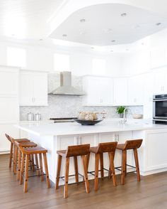 Bright white kitchen goals part two of our #projectsanclemente reveal is on the blog now / link in profile. You won't believe what this kitchen looked like before we remodeled it! @tessaneustadt >> white paint is Cool December DEW383 by @dunnedwards