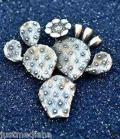 Rare Beautiful James Avery Sterling Silver Prickly Pear Cactus Pin Pendant  - Re-list May 23, 2013  - Sold June 2, 2013