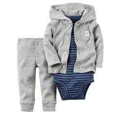 Carter's Baby Boys' 3 Piece Cardigan Set (Baby) - Navy Stripe - Newborn
