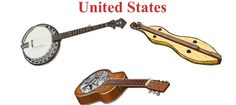 UNITED STATES  Up/ Down. Left/ Right     1.- Banjo (string bluegrass banjo) chordophone / lute family.  2.- Appalachian dulcimer, chordophone / zither family. 3.- Resonator Guitar, chordophone / lute family