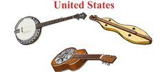 UNITED STATES  Up/ Down. Left/ Right     1.- Banjo (string bluegrass banjo) chordophone / lute family.  2.- Appalachian dulcimer, chordophone / zither family. 3.- Resonator Guitar, chordophone / lute family