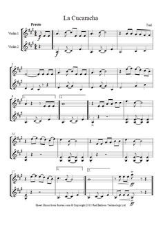 La Cucaracha (Mexico) sheet music for Violin Duet