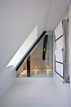 Fitting a small bathroom or ensuite into an awkward space? Get creative with your shower panels Attic Shower, Small Attic Bathroom, Upstairs Bathrooms, Shower Rooms, Shower Bathroom, Bathroom Mold, Bathroom Marble, Narrow Bathroom, White Bathrooms
