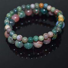 FBT - Indian Agate Multicolor Beaded Men's /Unisex Bracelets - 6.5 / Green