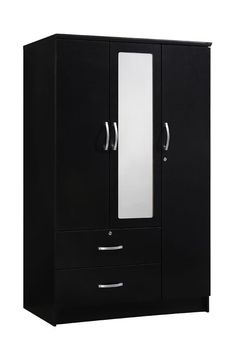 Liquid Pack Solutions Black Color Armoire Made of Manufactured Wood With Full Extention Drawers With Built-In PVC Mirror Wardrobe Interior Design, Wardrobe Door Designs, Wardrobe Design Bedroom, Bedroom Furniture Design, Bench Furniture, Three Door Wardrobe, Wooden Wardrobe, Wardrobe Doors, Teen Bedroom Colors