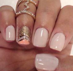 Love the nails and the ring! #MidRing #NailArt #PinkAndGold #Coral