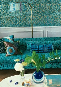 Designers Guild create inspirational home décor collections and interior furnishings including fabrics, wallpaper, upholstery, homeware & accessories. Deco Turquoise, Turquoise Room, Living Room Decor Turquoise, New Living Room, Living Room Sofa, Small Living, Tricia Guild, Do It Yourself Design, Blue Rooms