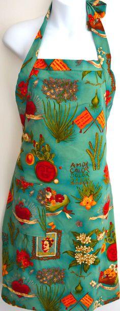 Mexico Import Arts - Viva Frida Kahlo Apron Teal $38.50