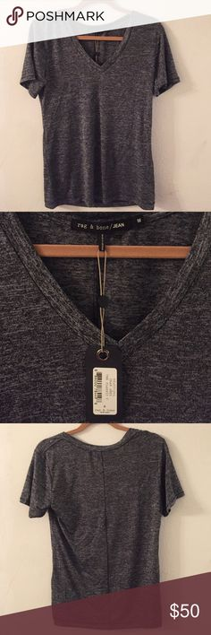Rag and bone Jean gray tee shirt (medium) NWT Brand new with tags! Charcoal gray rag and bone Jean classic v tee. Such a soft blend and great fit 66%rayon 27%poly 7%spandex rag & bone Tops Tees - Short Sleeve