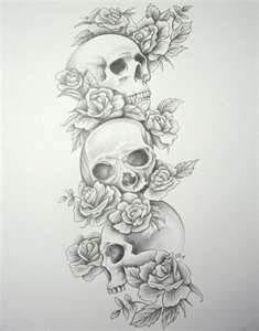 Skull Tattoo Designs Rose Tattoos
